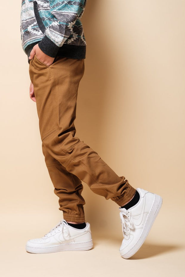 Boys Tobacco Side Zip Twill Jogger Pants