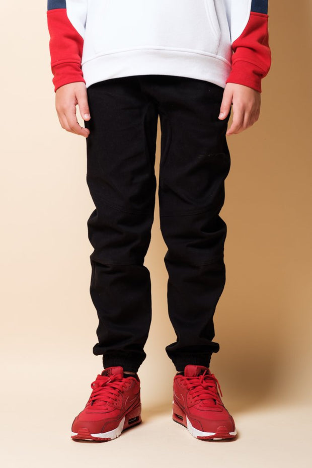 Boys Black Side Zip Twill Jogger Pants