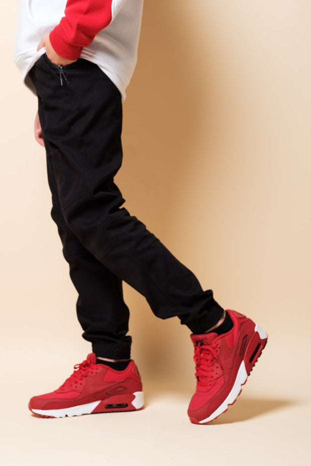 Boys Black Side Zip Twill Jogger Pants at Brooklyn Cloth