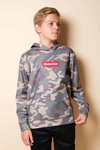 Boys Camo Notorious Hoodie at Brooklyn Cloth