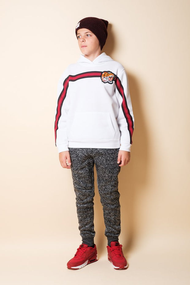 Boys White Tiger Pullover Hoodie