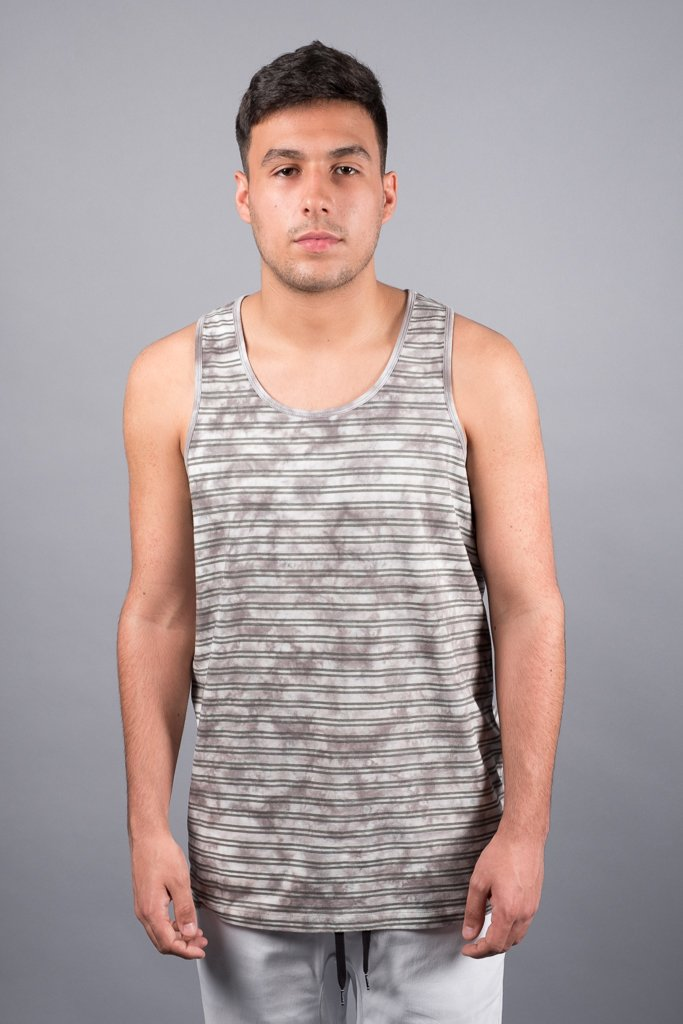 Grey Tie Dye Striped Tank Top