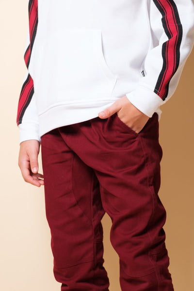 Boys Burgundy Twill Jogger Pants