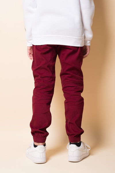 Boys Burgundy Twill Jogger Pants from Brooklyn Cloth