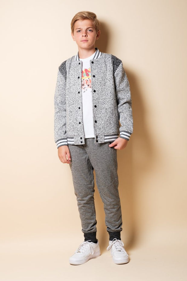 Boys Black Marl Knit Jogger