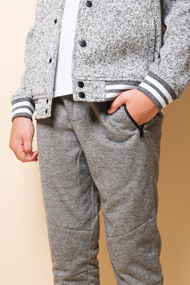 Boys Black Marl French Terry Jogger at Brooklyn Cloth