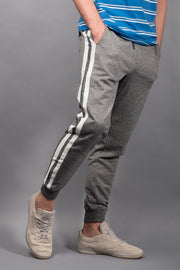 Black Marl Varsity Stripe Jogger Pants