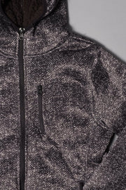 Boys Black Sherpa Herringbone Cozy Hoodie at Brooklyn Cloth