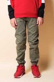 Boys Olive Side Zip Twill Jogger Pants