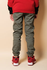 Boys Olive Zipper Jogger Pants at Brooklyn Cloth