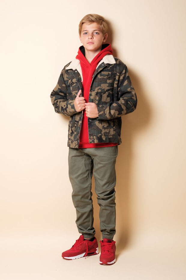 Boy's Camo Sherpa Jacket