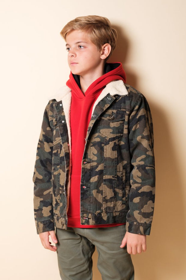 Boys Camo Sherpa Jacket at Brooklyn Cloth
