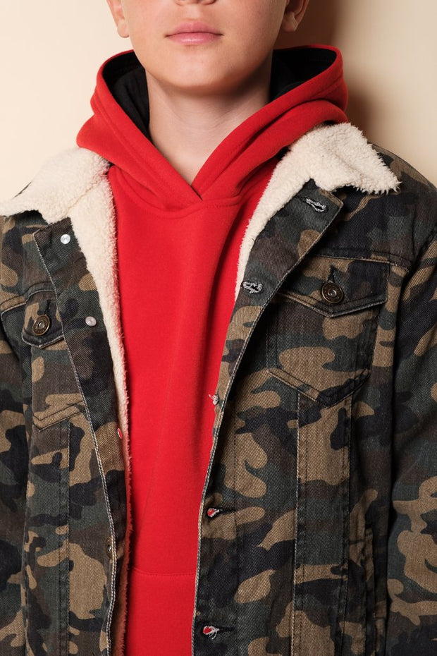 Boys Camo Sherpa Jacket
