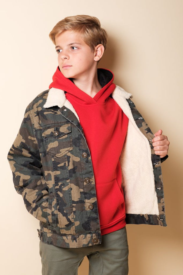Brooklyn Cloth Boys Camo Sherpa Jacket