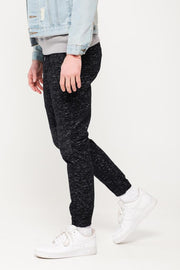 Black Space Dye Moto Twill Jogger Pants for Men