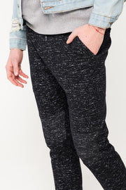Men's Black Space Dye Moto Twill Jogger Pants