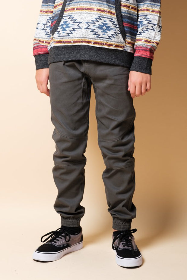 Boys Charcoal Grey Side Zip Twill Jogger Pants