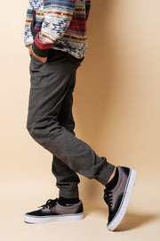 Boys Charcoal Zipper Jogger Pants