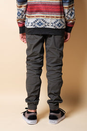 Youth Charcoal Zipper Jogger Pants