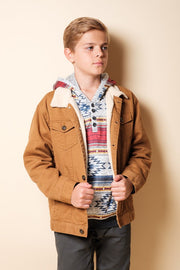 Brooklyn Cloth Boys Tobacco Sherpa Jacket