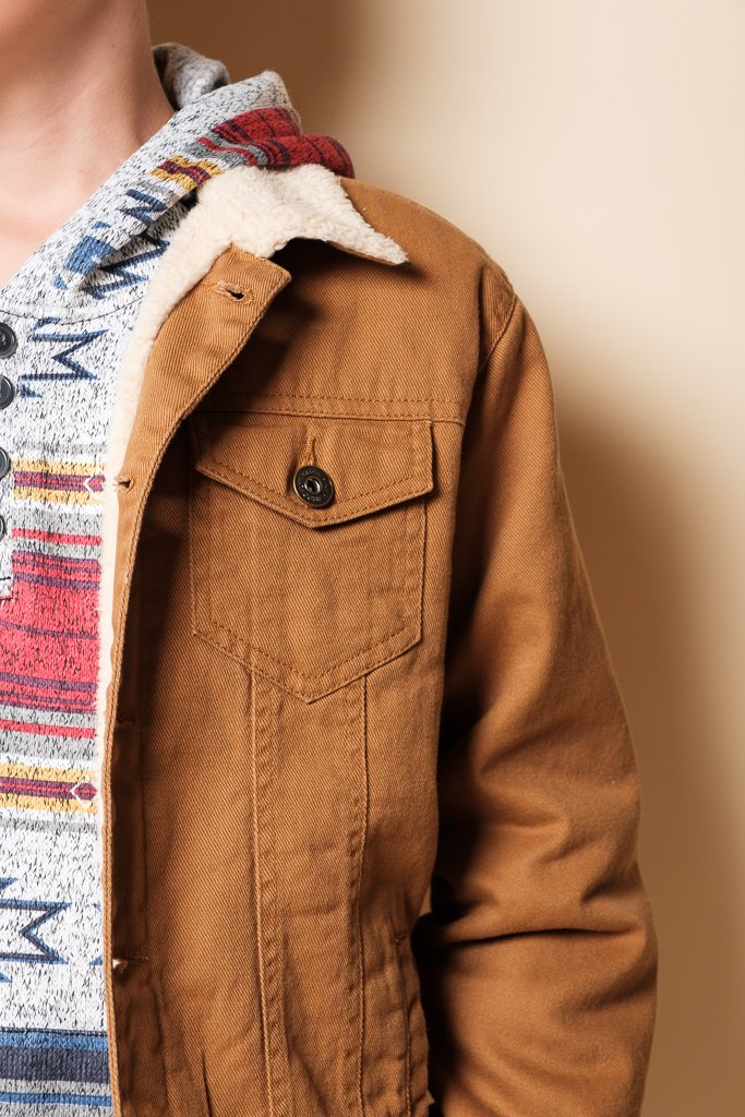Boy's Tobacco Sherpa Collar Jacket