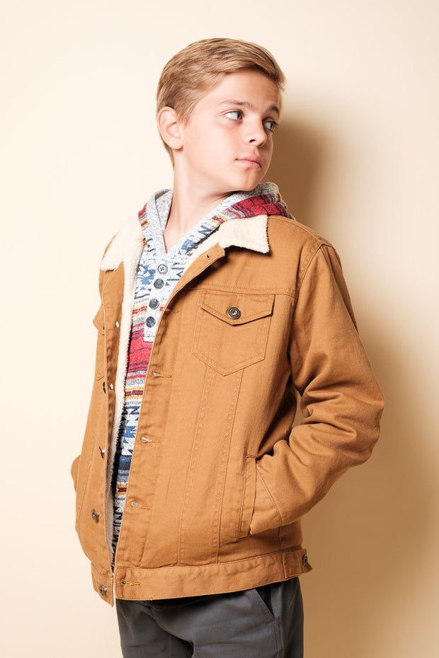 Boys Tobacco Sherpa Jacket at Brooklyn Cloth