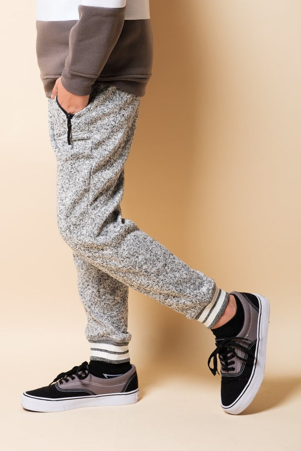 Boys' Grey Marl Varsity Cozy Knit Fleece Jogger Pants