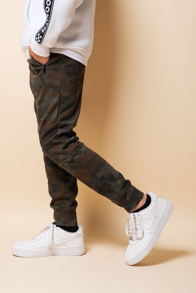Boys Tobacco Camo Zip Pocket Knee Seam Jogger