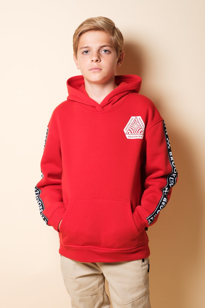 Boys Red Brooklyn Hoodie