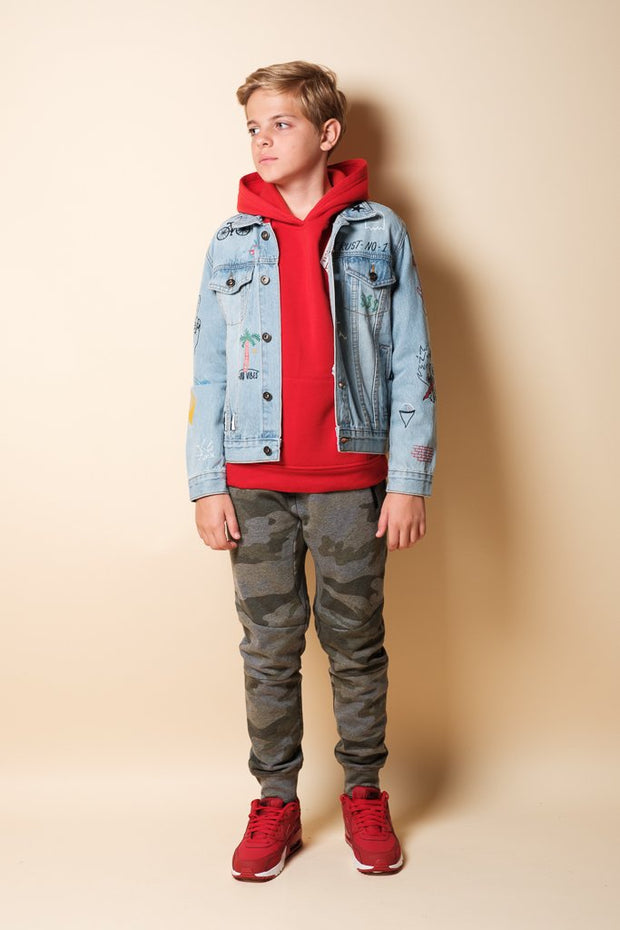 Youth Olive Camo Zip Pocket Knee Seam Jogger at Brooklyn Cloth