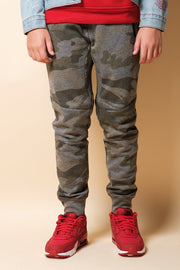 Boys Olive Camo Zip Pocket Knee Seam Jogger