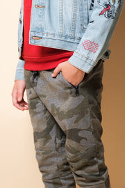 Brooklyn Cloth Boys Olive Camo Zip Pocket Knee Seam Jogger