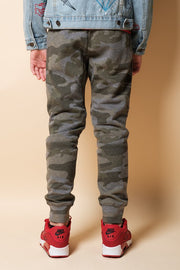 Youth Olive Camo Zip Pocket Knee Seam Jogger