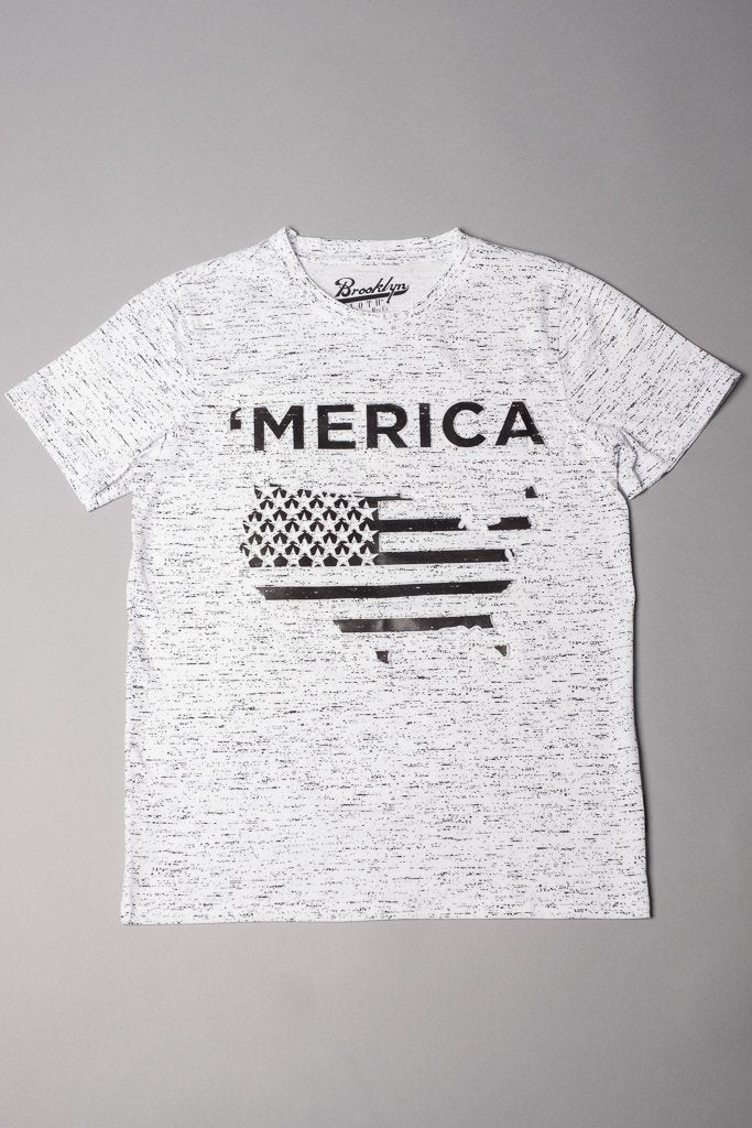 Boys' White Space Dye 'Merica Tee