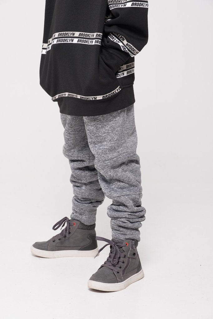Boy's Light Grey Space Dye Sherpa Lined Joggers
