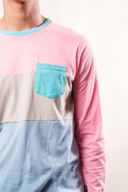 Pink Color Blocked Long Sleeve Tee