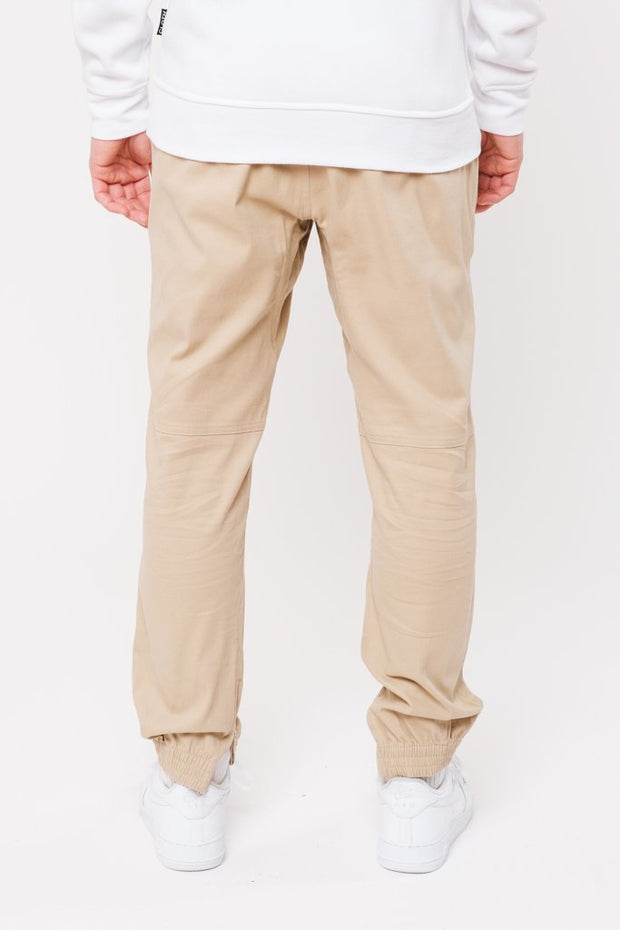 Khaki Ankle Zip Twill Jogger Pants