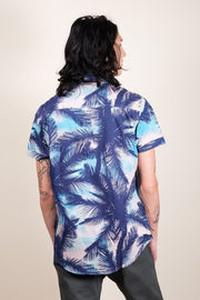 Brooklyn Cloth Blue Palm Tree Woven Shirt