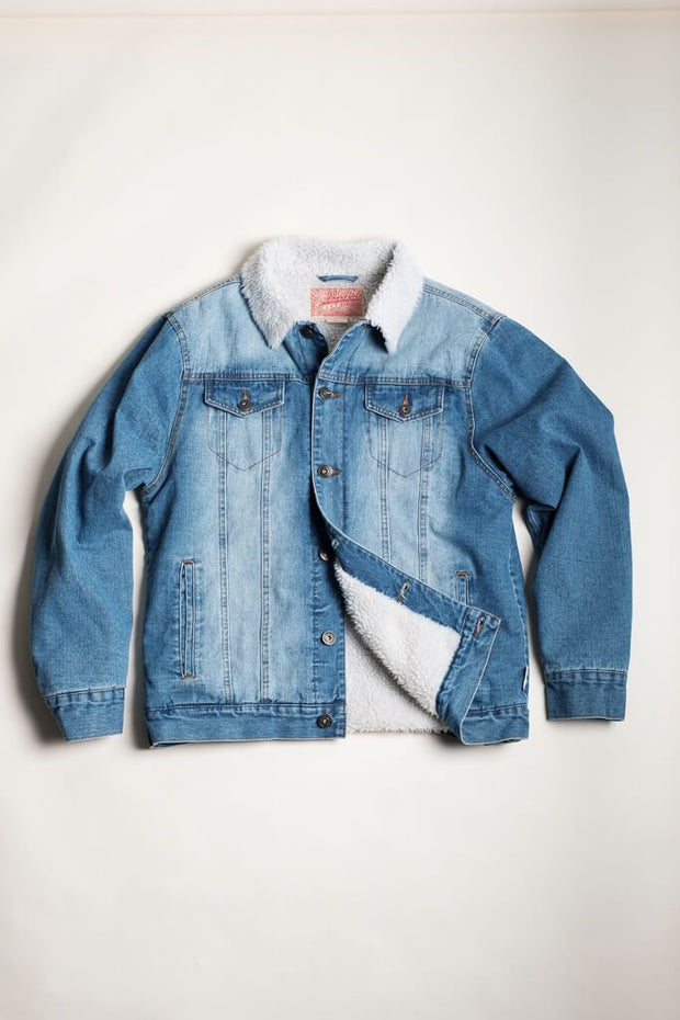 Denim Sherpa Trucker Jacket for Men