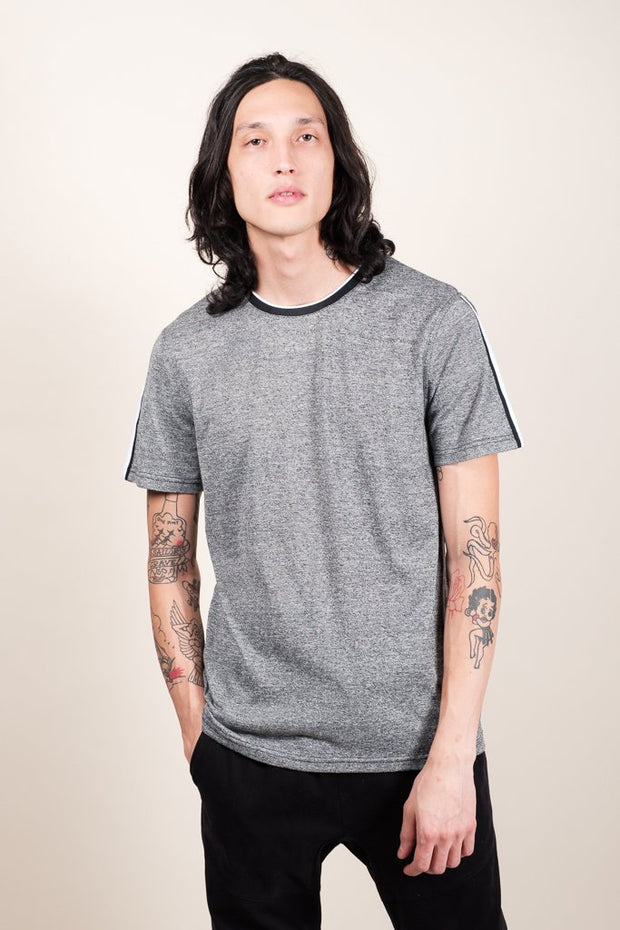 Black Marl Striped Sleeve Tee for Men