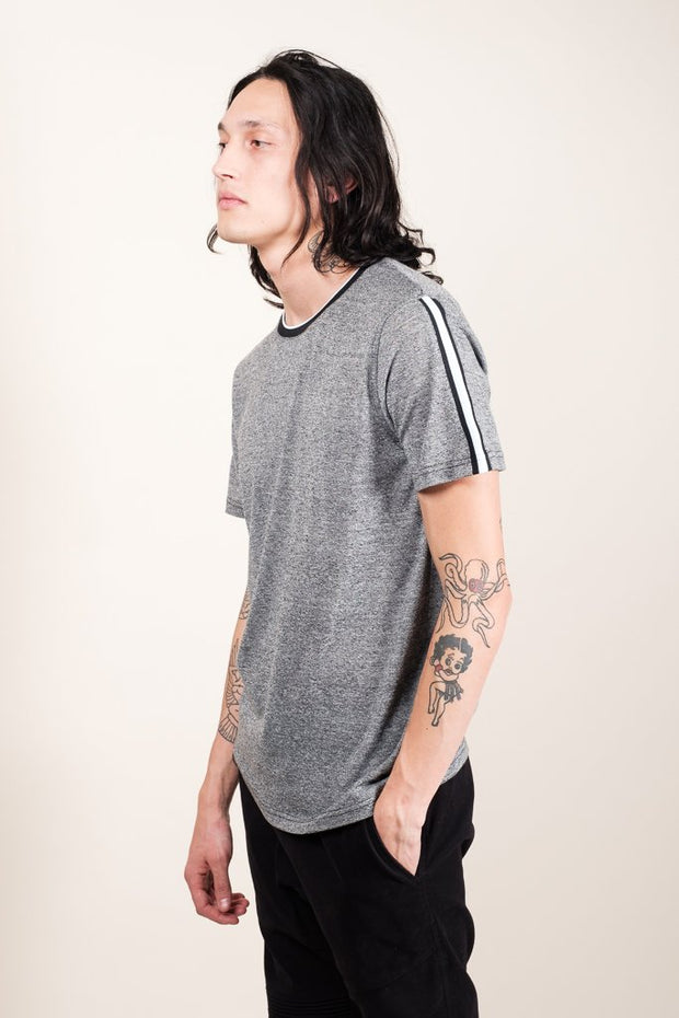 Men's Black Marl Striped Sleeve Tee