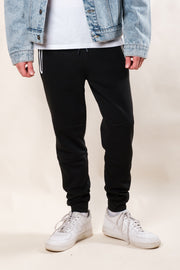 Black And White Heat Seal Fleece Jogger Pants