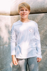 Boys White Long Sleeve Tee