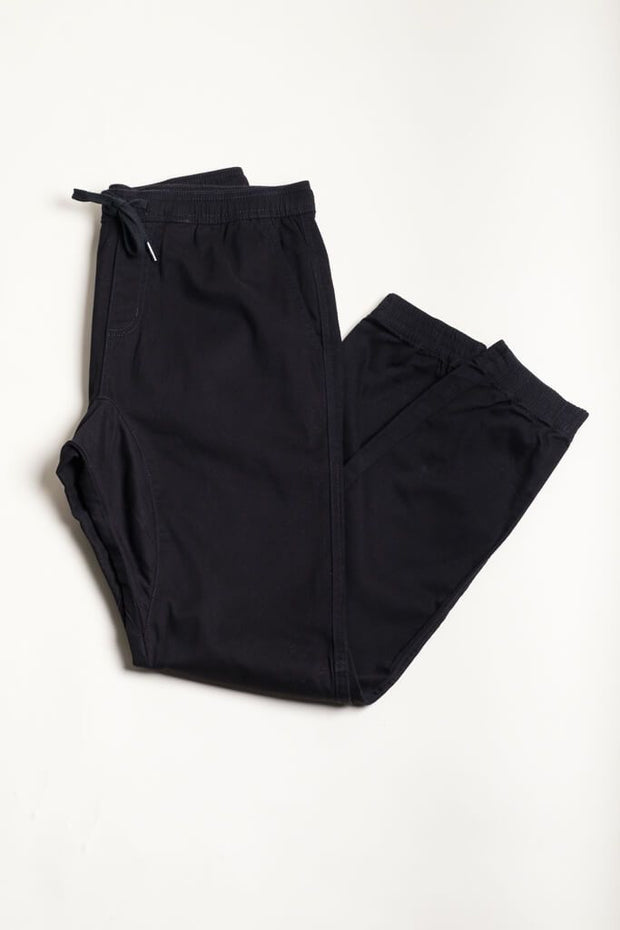 All Black Twill Jogger Pants for Men
