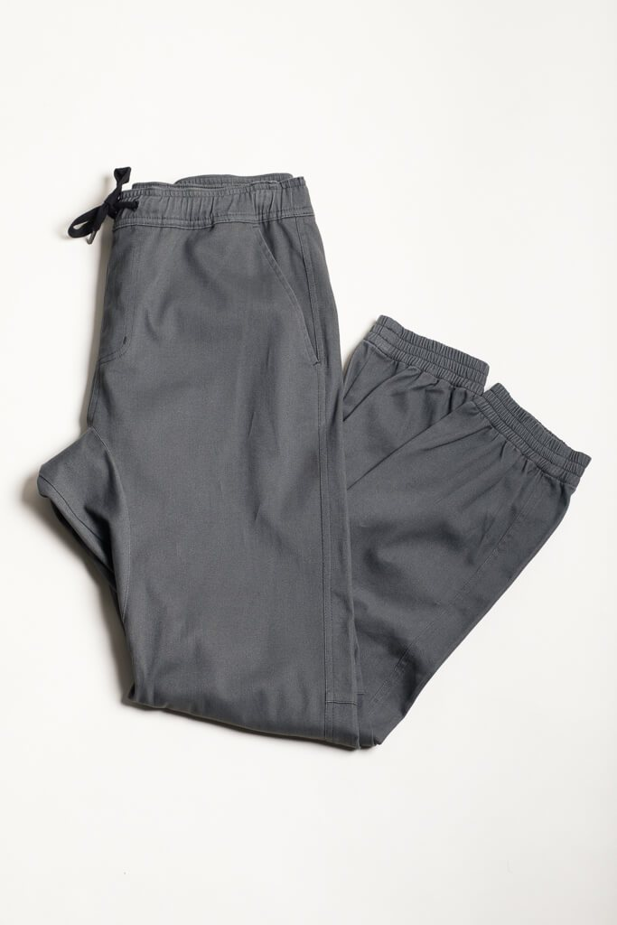 Charcoal Grey Twill Jogger Pants