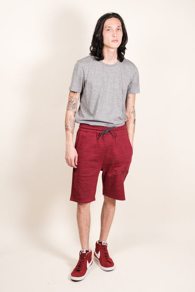 Brooklyn Cloth Burgundy Space Dye French Terry Jogger Short for Men