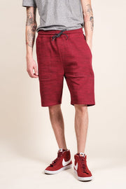 Burgundy Space Dye French Terry Jogger Short for Men
