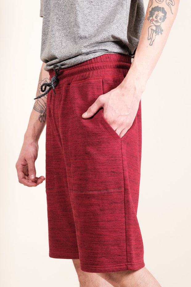 Men's Burgundy Space Dye French Terry Jogger Short