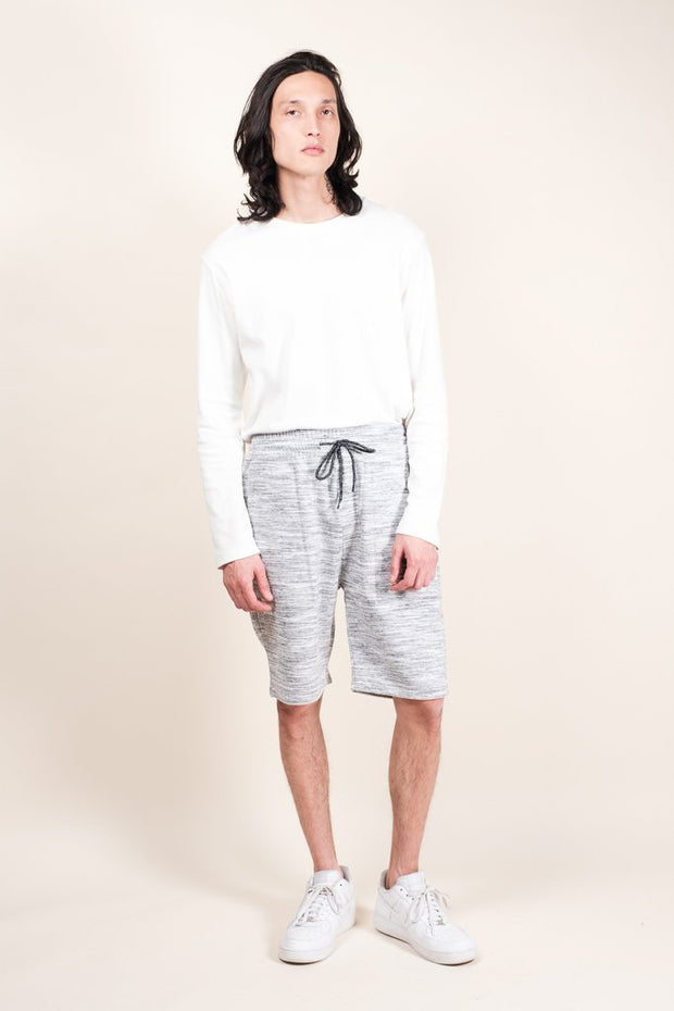 Brooklyn Cloth Grey Yarn Dye Space Dye French Terry Jogger Shorts for Men