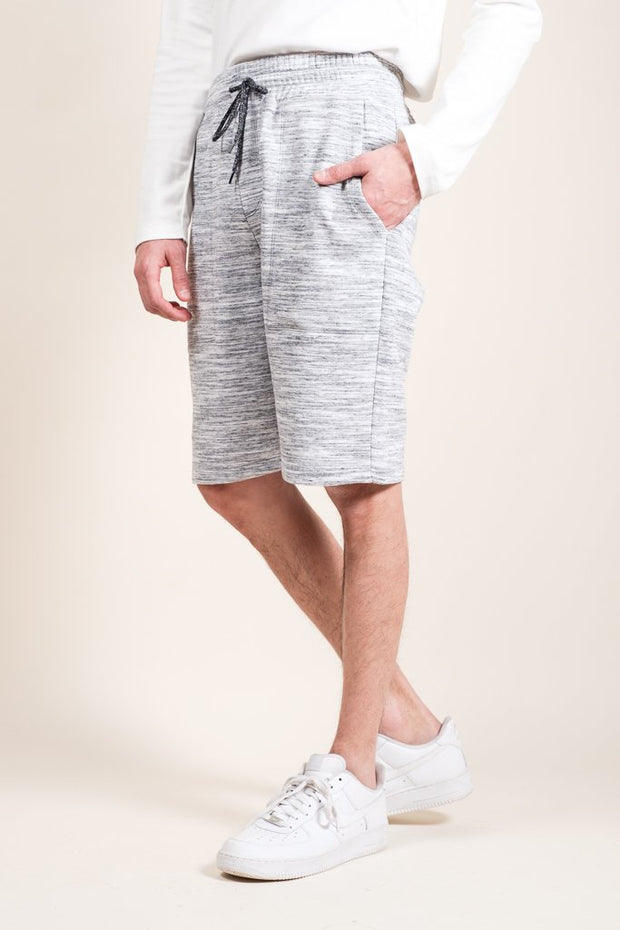 Grey Yarn Dye Space Dye French Terry Jogger Shorts for Men